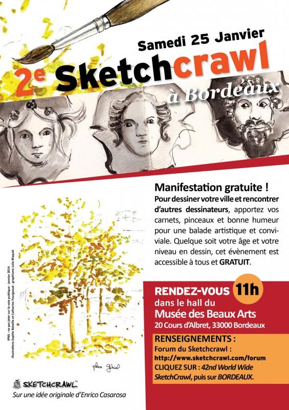 Sketchcrawl Bordeaux, croquis, carnet, aquarelle