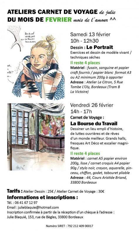 Julie Blaquié atelier dessin carnet de voyage