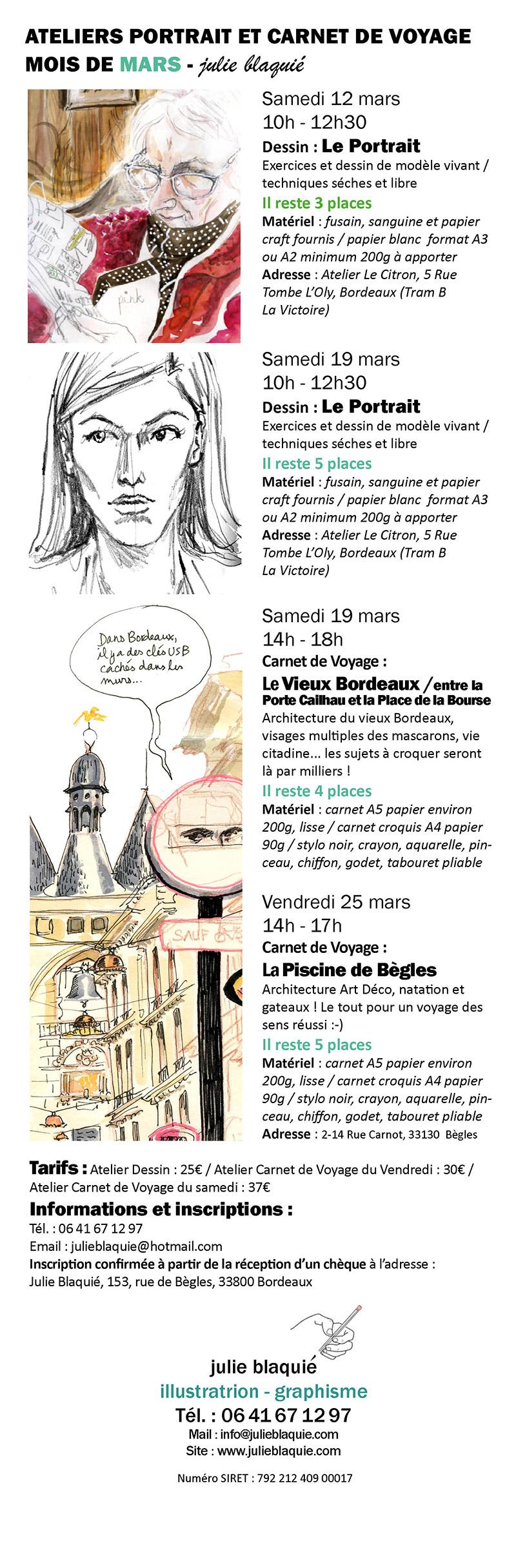 Atelier dessin portrait carnet de voyage Bordeaux