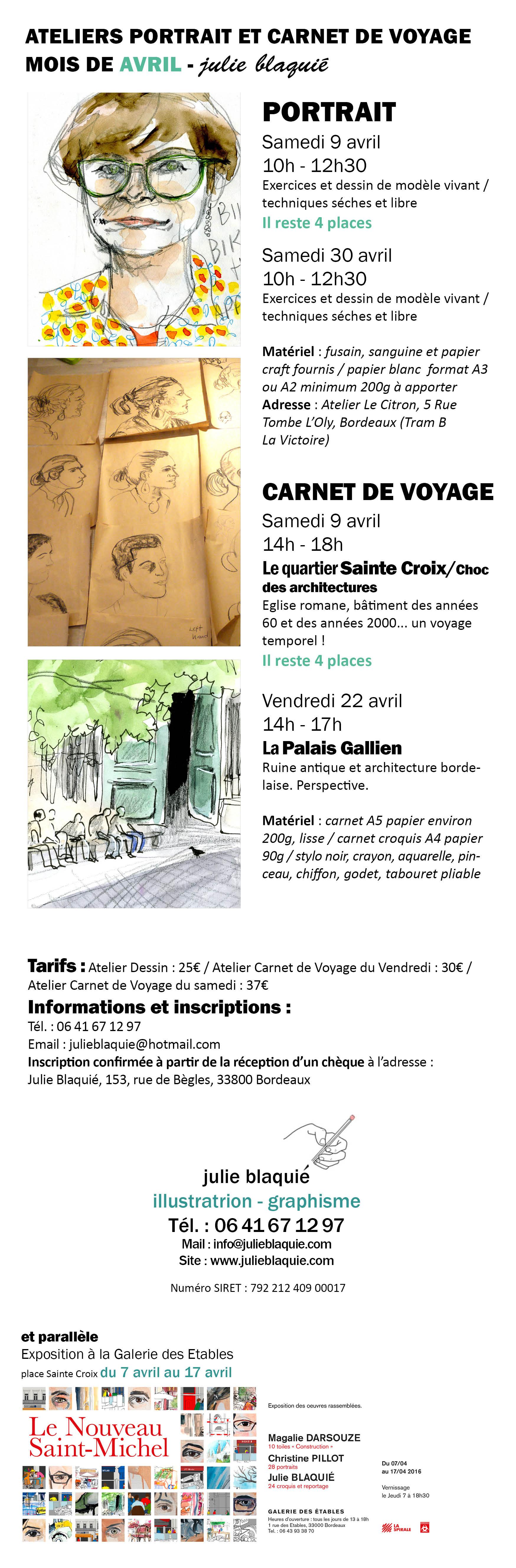 julie blaquié, atelier dessin, atelier carnet de voyage, portrait, aquarelle, fusain