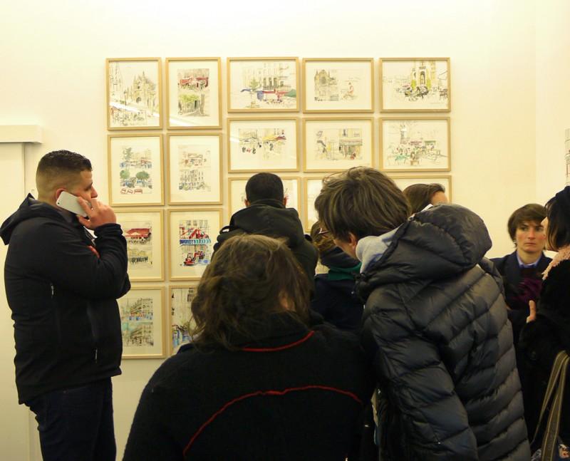 vernissage, le nouveau saint michel, la spirale, julie blaquié, aquarelle, carnet de voyage, dessin