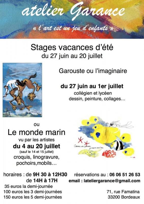 Atelier dessin, peinture, enfants, adolescents, Bordeaux, apprendre à dessiner, peindre, Garouste, imaginaire