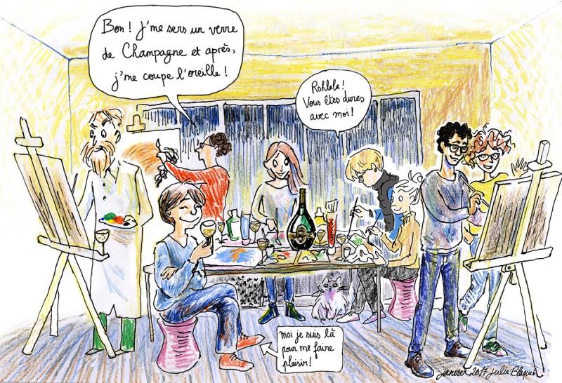 atelier arts plastiques Bordeaux, Julie Blaquié, illustration Bordeaux