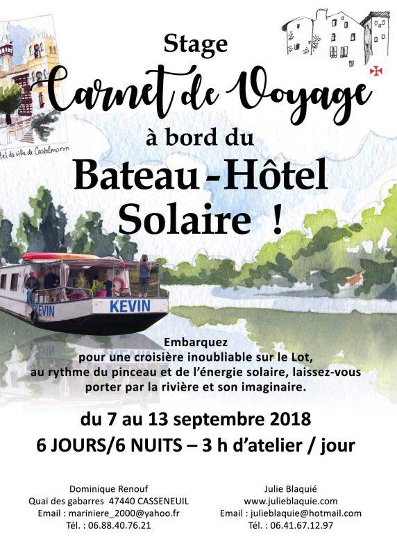 Stage carnet de voyage sur bateau hôtel solaire
