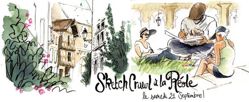 balade dessinée, sketchcrawl, La Réole