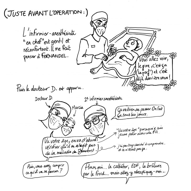 fibrillation auriculaire, ablation fa, illustration julie blaquié, clinique saint augustin